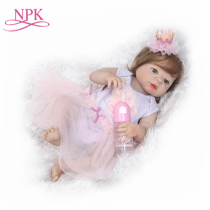 NPK Hot Sale Reborn Baby Dolls Realistic Girl Princess 23 inch Baby Dolls Alive Reborns Toddler bebe Washable Toy For kids Gifts
