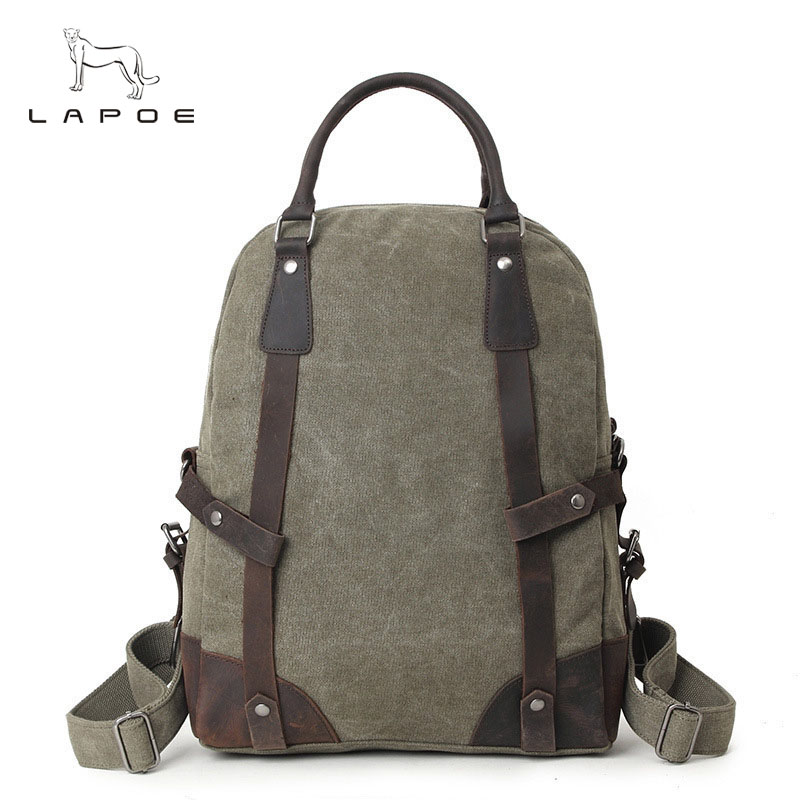 LAPOE Casual Men Women Canvas Bags School Backpack for Teenagers Boys Girls Backpacks for Teenager Travel Bag Rucksack Bookbags new canvas backpack travel bag korean version school bag leisure backpacks for laptop 14 inch computer bags rucksack