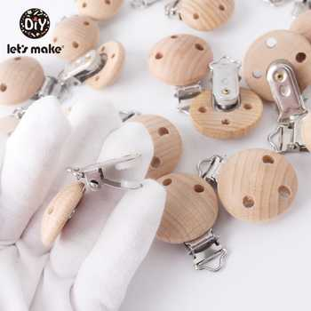 Let\'s Make Natural Wooden 50pc Pacifier Beech Metal Clips Holder Round Teether Pacifier Wooden Teething Beads DIY Pacfier Chain
