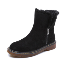 Fashion Autumn Winter Boots Fur Leather Suede Brand New Women Flats Snow Boots Plush Warm Female Shoes Plus size 35-43