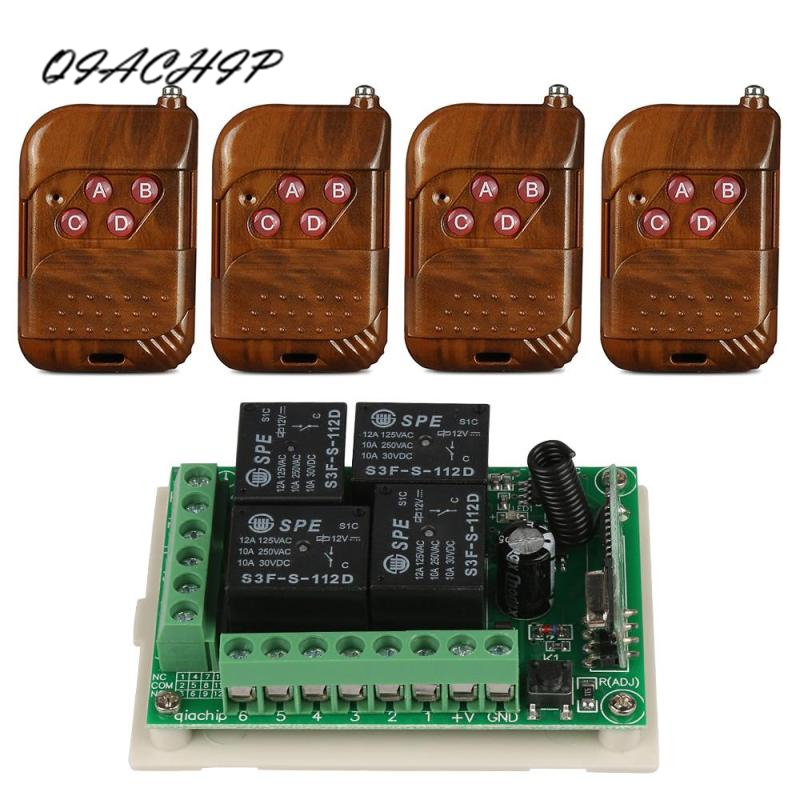 QIACHIP 433Mhz Wireless DC 12V 4CH relay 1527 Learning code Receiver Module and 4pcs 433 Mhz RF Transmitter Switch Control wireless pager system 433 92mhz wireless restaurant table buzzer with monitor and watch receiver 3 display 42 call button