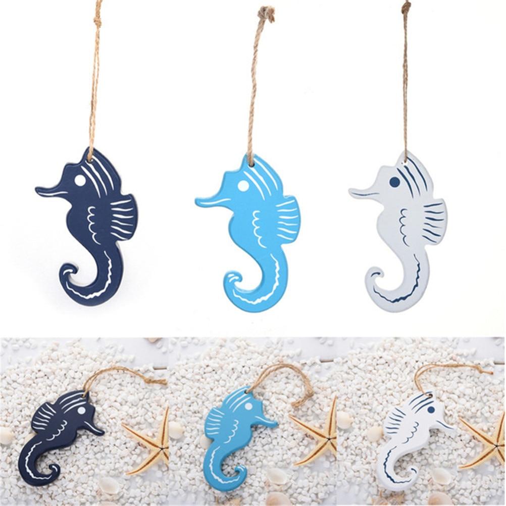1 StÜcke Mediterranen Stil Hippocampus Holz Handwerk Kleine Anhänger Nautischen Stil Wand Hängen Ornament Dekoration Ruf Zuerst