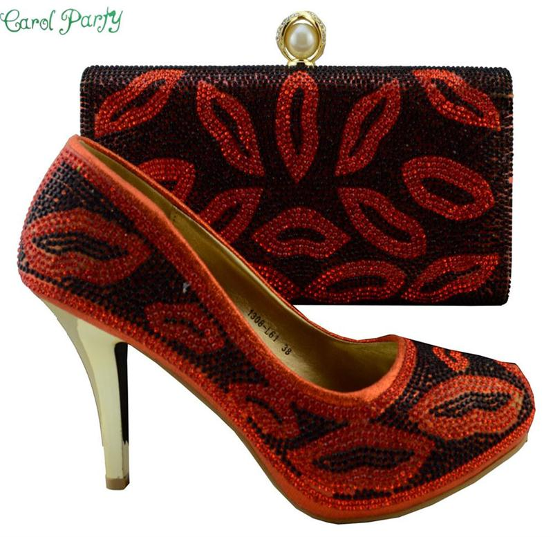Shoes and Bag St Decorated with Rhinestone High Quality Matching Italian Shoes and Bag Set African Wedding 1308-L61 red shoes and bag set for wedding high quality italian shoes and matching bag set with stones african heel pumps 1308 l55
