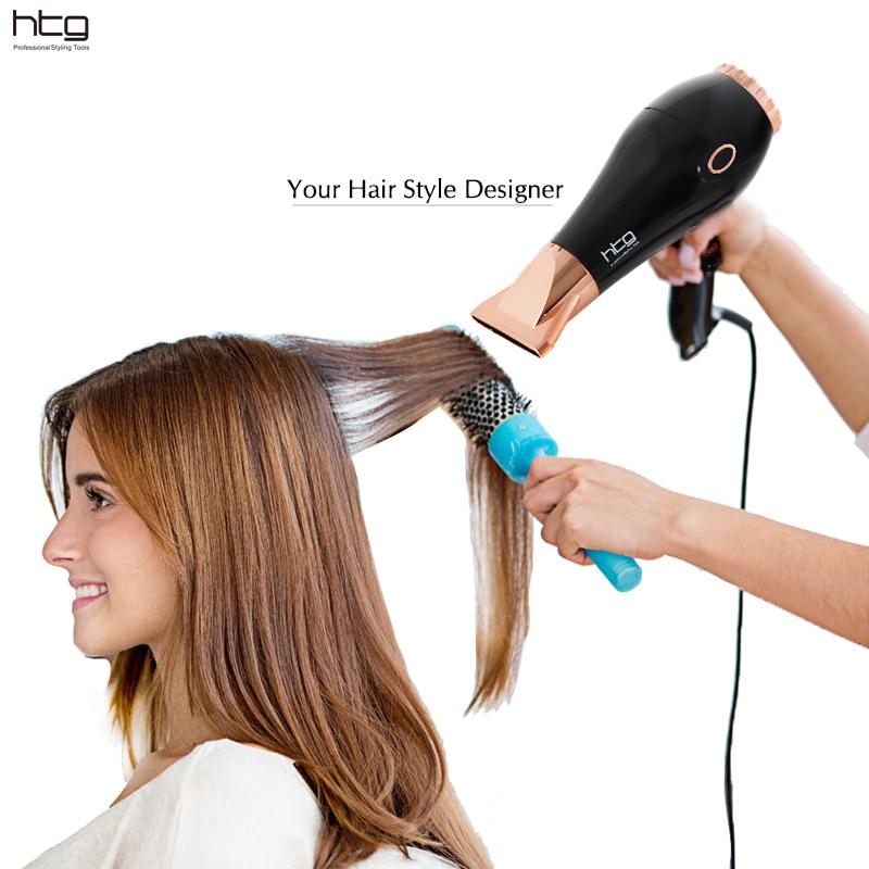HTG Professional сешоар за коса 2300W йонна и инферирана супер мощност Компактен размер Shinny AC мотор за изсушаване на коса сешоар HT039A
