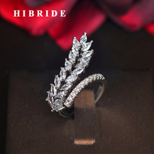 цена на HIBRIDE New Design Leaf shape AAA Cubic Zircon Adjustable Rings For Women Wedding Open Ring Fashion Jewelry Anillos Mujer R-213
