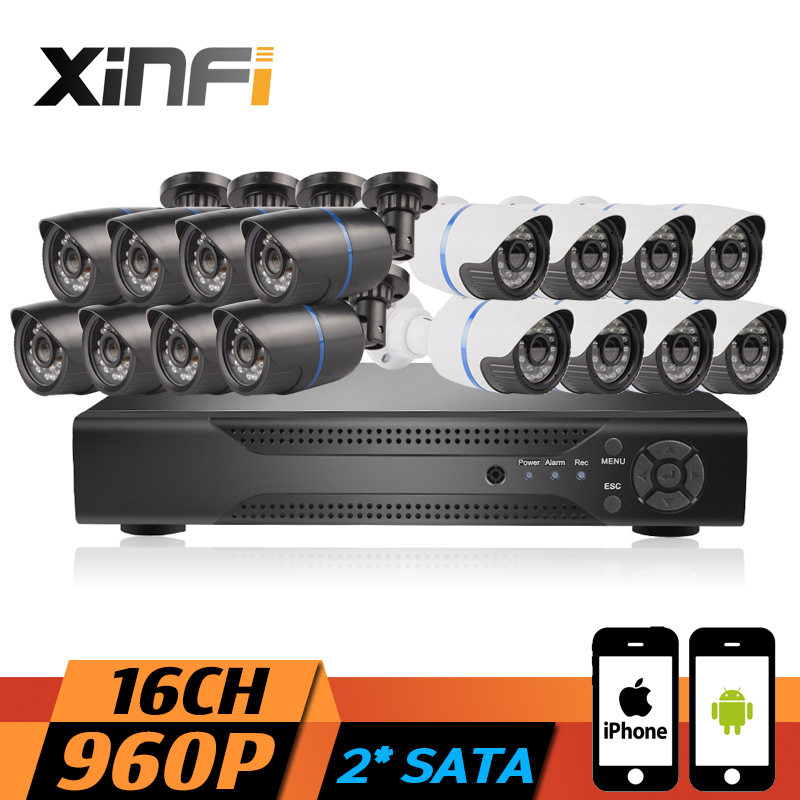 XINFI 16CH CCTV System 1080P NVR Network Video Recorder with HD 960P Home Security Camera indoor/outdoor camera System CCTV kit