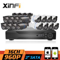 XINFI 16CH CCTV System 1080P NVR Network Video Recorder With HD 960P Home Security Camera Indoor