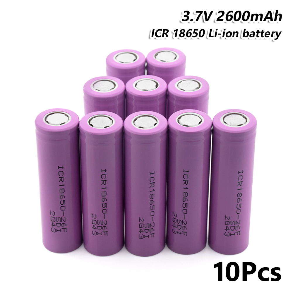 Lampe torche Rechargeable ICR 18650 26F Li-ion batterie 2600 mAh 3.7 V 10 pièces pour stylo Laser lampe de poche LED support de batterie de cellule