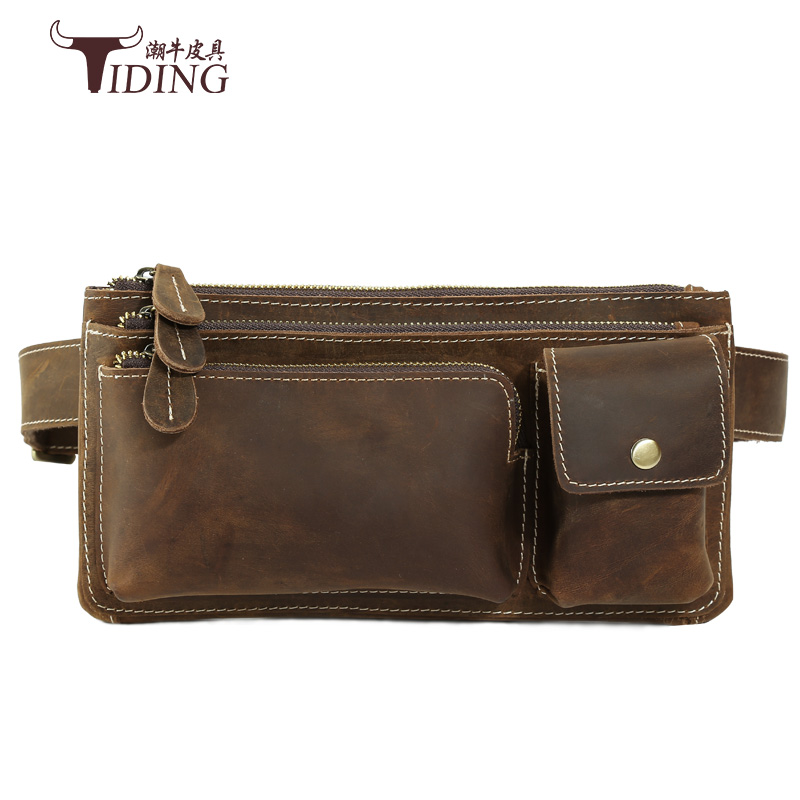 belt small vintage waist bag men  Genuine Leather Waist Packs Fanny Pack Belt Bag Phone Pouch Bags Travel Waist Pack Male bags hot sale men canvas waist packs army green solid phone bag hip belt portable man wallet purse case pouch waist bags 2017