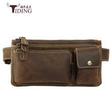 лучшая цена belt small vintage waist bag men  Genuine Leather Waist Packs Fanny Pack Belt Bag Phone Pouch Bags Travel Waist Pack Male bags
