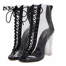 28bb0d378590b Donne Gladiatore Sandali IN PVC Trasparente Block Tacco Alto Stivali Lace Up  High Top Bootie Pompe