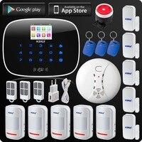 Kerui Wireless Wired GSM Voice Burglar Home House Security Alarm App Control TFT Touch Panel Wireless Smoke Detector Pir Sensor