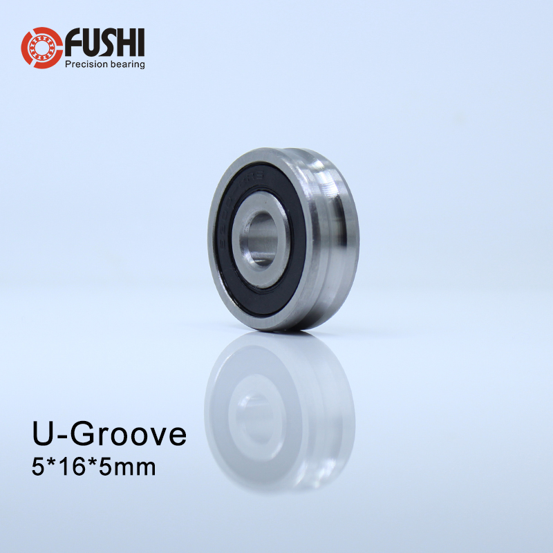 Outer Ring With U-groove <font><b>Bearing</b></font> <font><b>5*16*5</b></font> mm 10PCS Wire Cable Pulley <font><b>Bearing</b></font> Walking Heavy Pulley Crane U Groove Wheel <font><b>Bearings</b></font> image