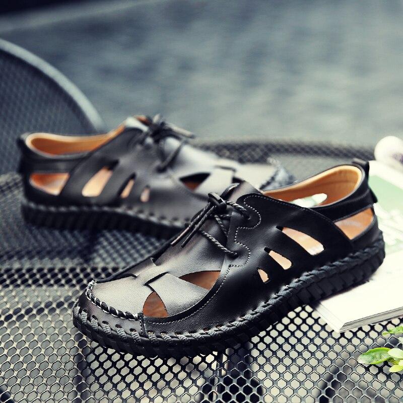 Misalwa Summer Pelle Breathable Scarpe Scarpe Scarpe Genuine Pelle Uomo Casual Sandals Light 641440