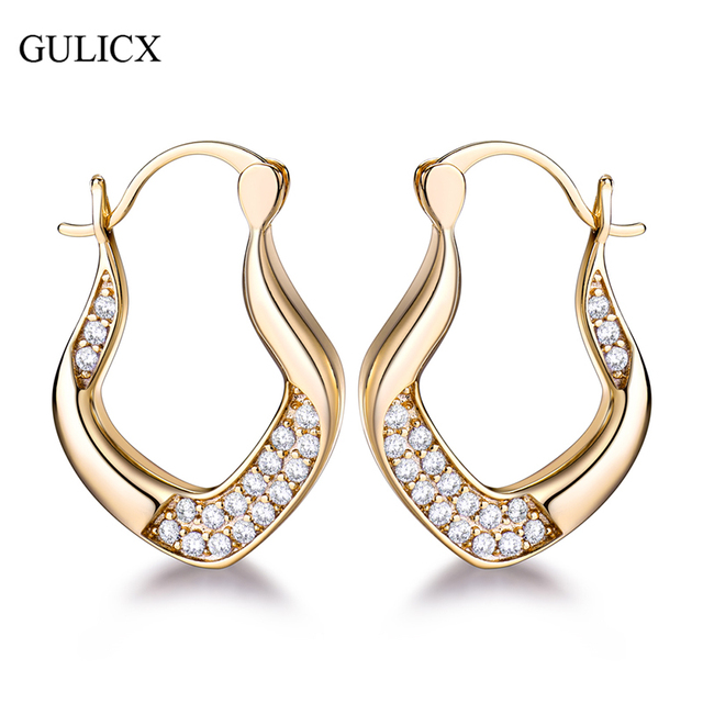 Gulicx Famous Brand Trendy Hoop Earrings For Women Gold Color Crystal Zirconia Unusual
