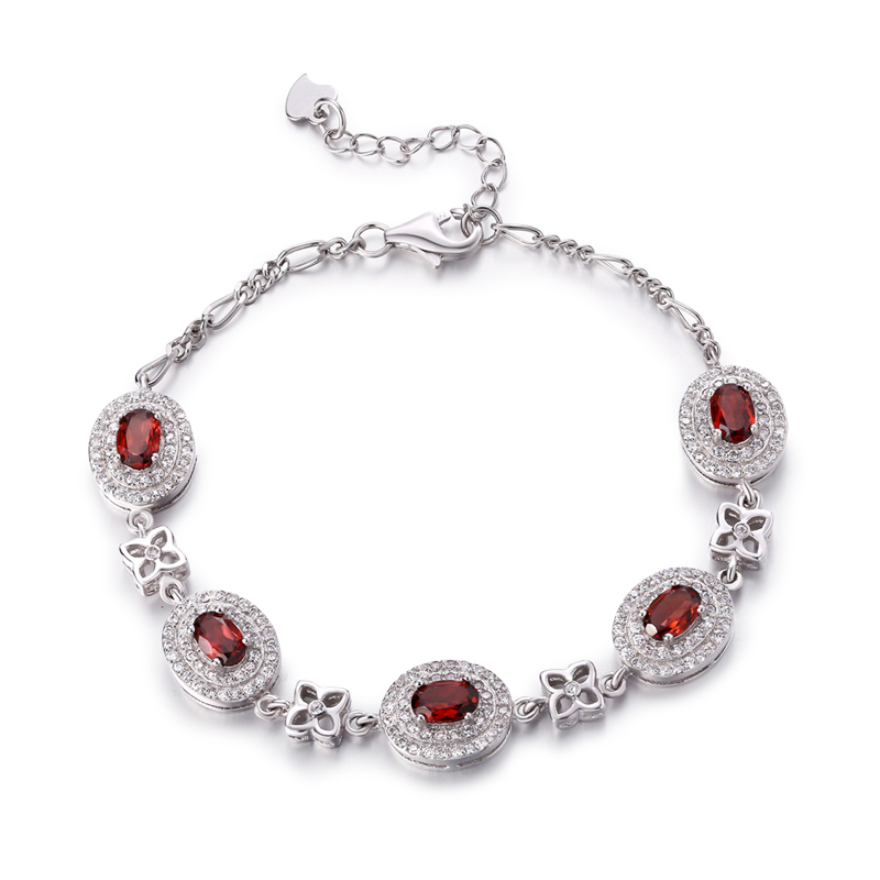 ZT Classic Women 925 Sterling Silver White Or Rose Color Bangle 0.5ct Red Garnet Bracelet Jewelry For Women Party Bracelets Gift ztung hb20 charm bracelets classic 925 sterling silver have many color for women s girls wonderful gift jewelry bangle