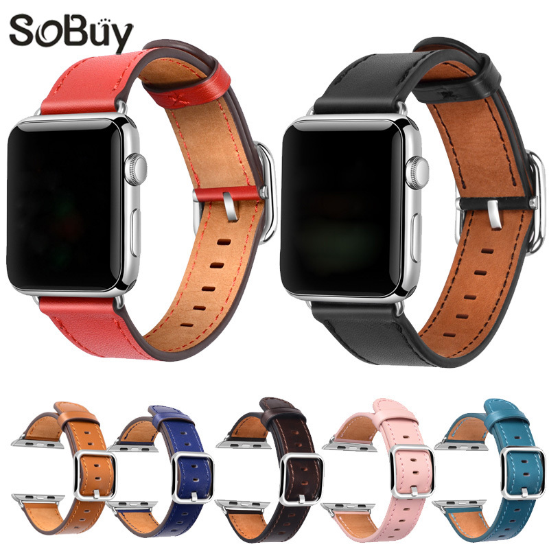 IDG leather strap for apple watch 42mm 38mm strap band Classic stainless steel Buckle belt bracelet band for iwatch 1/2/3 series istrap durable 38mm 42mm genuine calf leather watch strap for iwatch with deployant stainless steel buckle for apple watch band