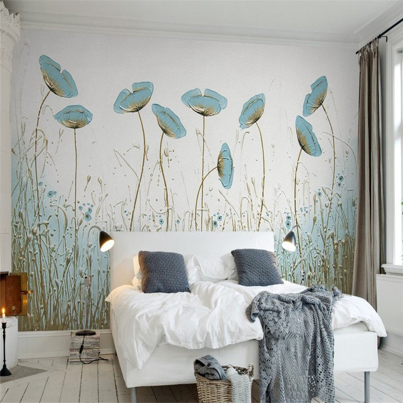 3D Custom Wallpapers Hand-painted Florals Wallpaper Watercolor Flowers Wall Papers for Living Room Bedroom Murals TV Backdrop fashion circle flowers birds large mural wallpaper living room bedroom wallpaper painting tv backdrop 3d wallpapers for wall