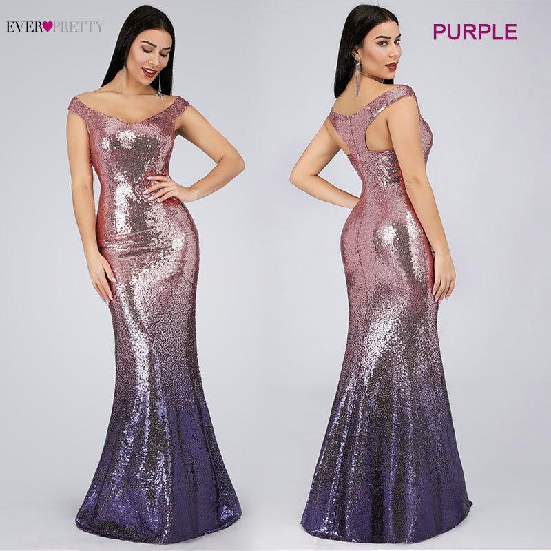 Evening Dress Long Sparkle 2019 New V-Neck Women Elegant EB29998 Sequin Mermaid Maxi Evening Party Gown Dress abendkleider 2019