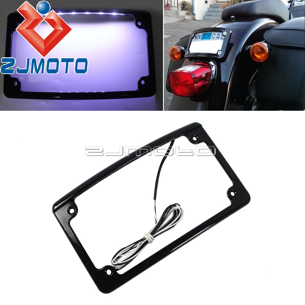Universal Motorcycle 12 Curved 6 White LED Light License Plate Holder Black Number Plate Bracket Rear Bling Tag Cover For Harley