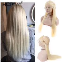 613 Blonde Full Lace Human Hair Wigs With Baby Hair Straight Brazilian Remy Full Lace Wigs Pre Plucked Natural Hairline HCDIVA