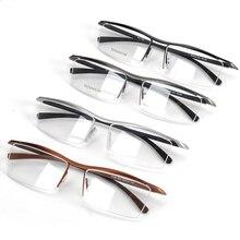 Browline media montura de titanio para hombre, gafas con montura metálica, a la moda, con montura de prescripción de Anteojos