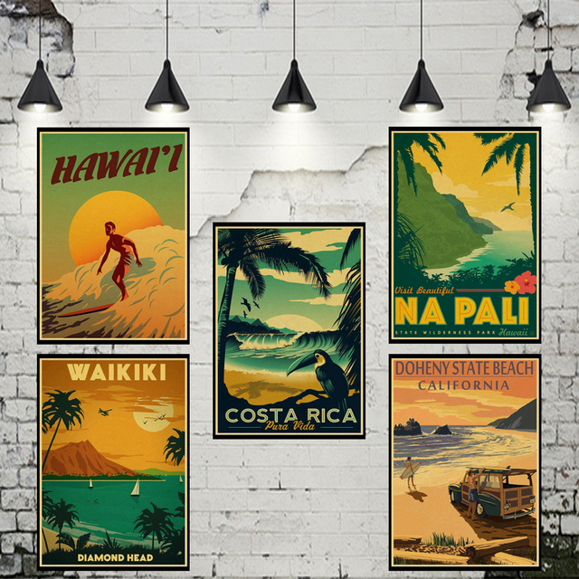 Maui Hawaii Vintage Poster Classic Design Character Retro Posters Wall Art Painting Wallpaper Cafe Bar Pub
