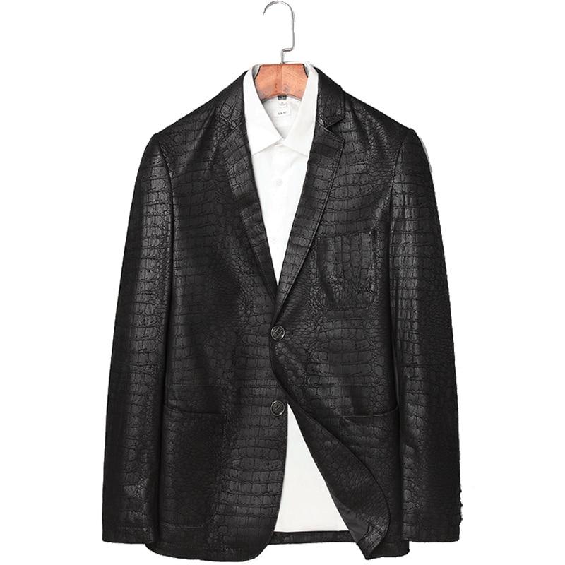 ae704d973 US $149.98 59% OFF|Fashion Alligator Sheepskin Jacket Men Leather Jacket  Style Genuine Leather Jacket Real Leather Genuine Jacket Men jaqueta  couro-in ...