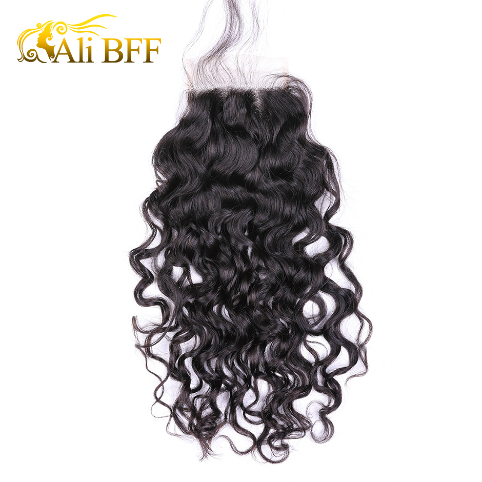 ALI BFF Malaysian Water Wave 4x4'' Lace Closure With Baby Hair 100% Human Hair Middle/Free/Three Part Closure Remy Hair