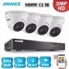 ANNKE 4CH 3MP 5in1 CCTV DVR HDMI Hybrid 4PCS 3MP 1920 1536 IR Dome Outdoor Security
