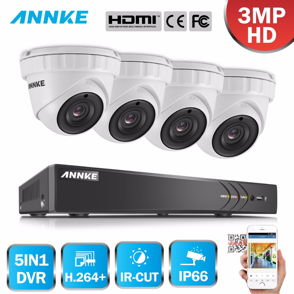 ANNKE 4CH 3MP 5in1 CCTV DVR HDMI Hybrid 4PCS 3MP 1920 1536 Smart IR Cut Dome