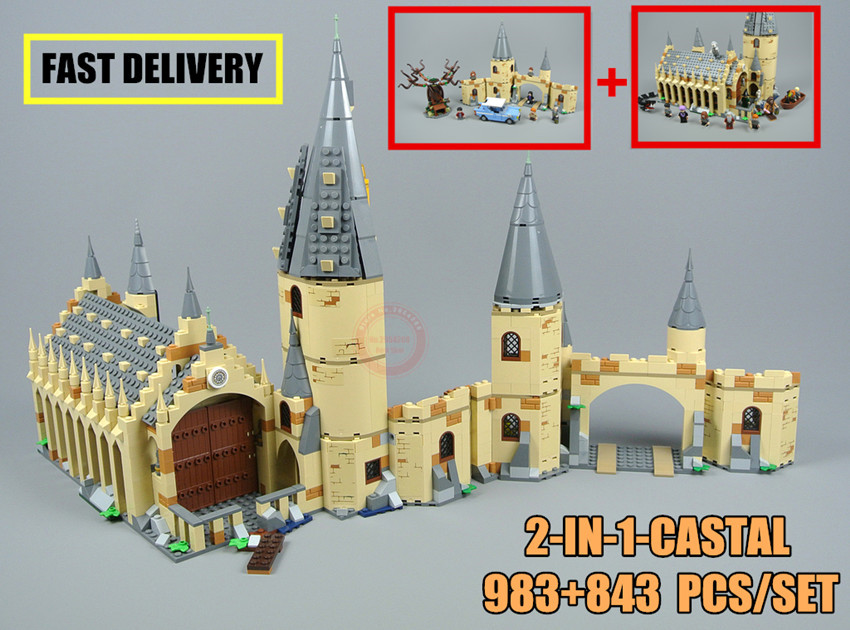 New Harry Movie Hogwarts Great Wall Set fit legoings Harry Potter castle figures Building Blocks bricks Kid Toy 75953+75954 Gift