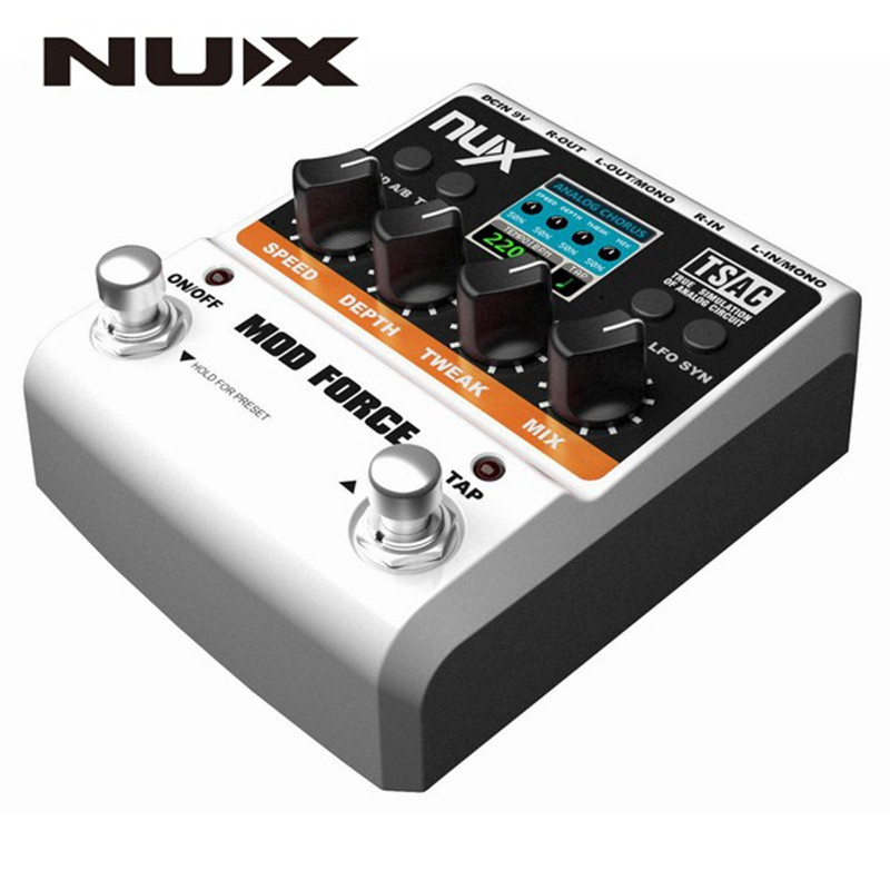 NUX Mod Force Electric Guitar Effects Pedal 12 Multi Modulation Color Screen 11 Modeling Delay Modes Stereo Signal Processing