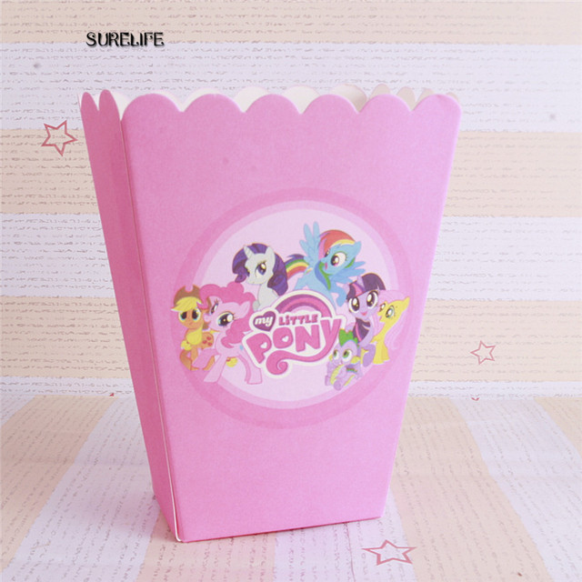 60pcs Paper Popcorn Box Cup My Little Pony Theme Party Decoration For Baby Hy Birthday
