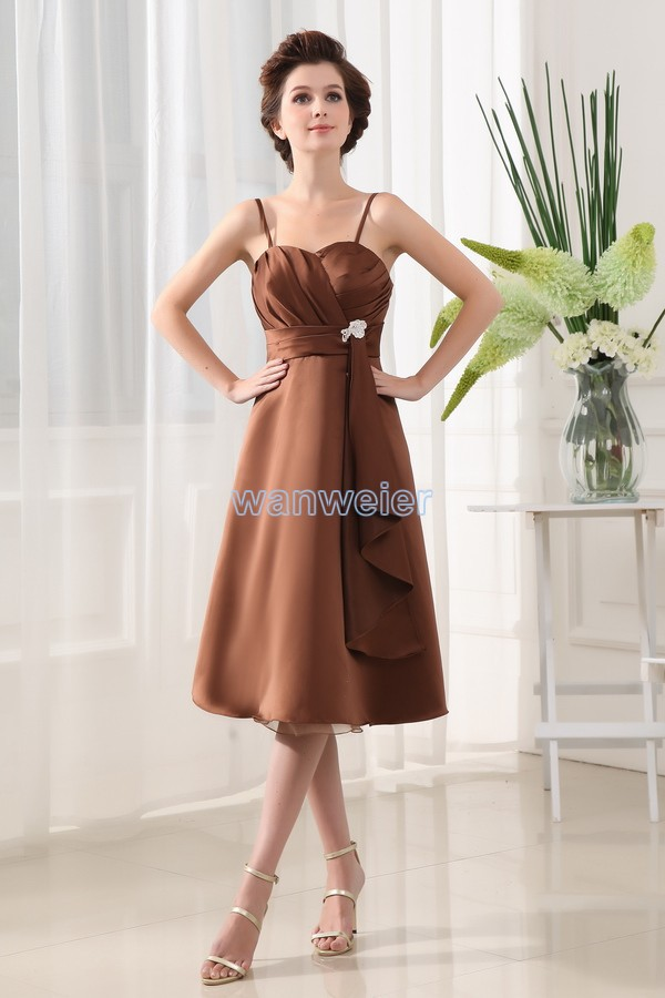 free shipping 2016 hot new design vestidos formales hot seller brides maid Satin Knee-Length brown party prom Bridesmaid Dresses