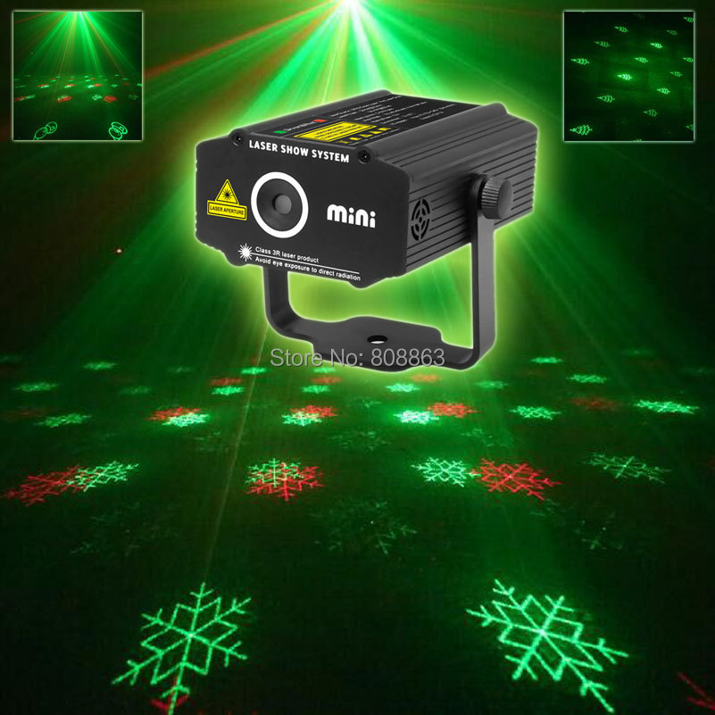 ESHINY MINI R&G Laser Xmas 3 Patterns Projector DJ Dance Disco Bar Holiday Family Party Christmas Stage Effect Light Show T133