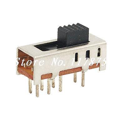 10 x DC 50V 0.5A 3 Position Mini Vertical Slide Switch 2P3T 8 Pin PCB SS23E02