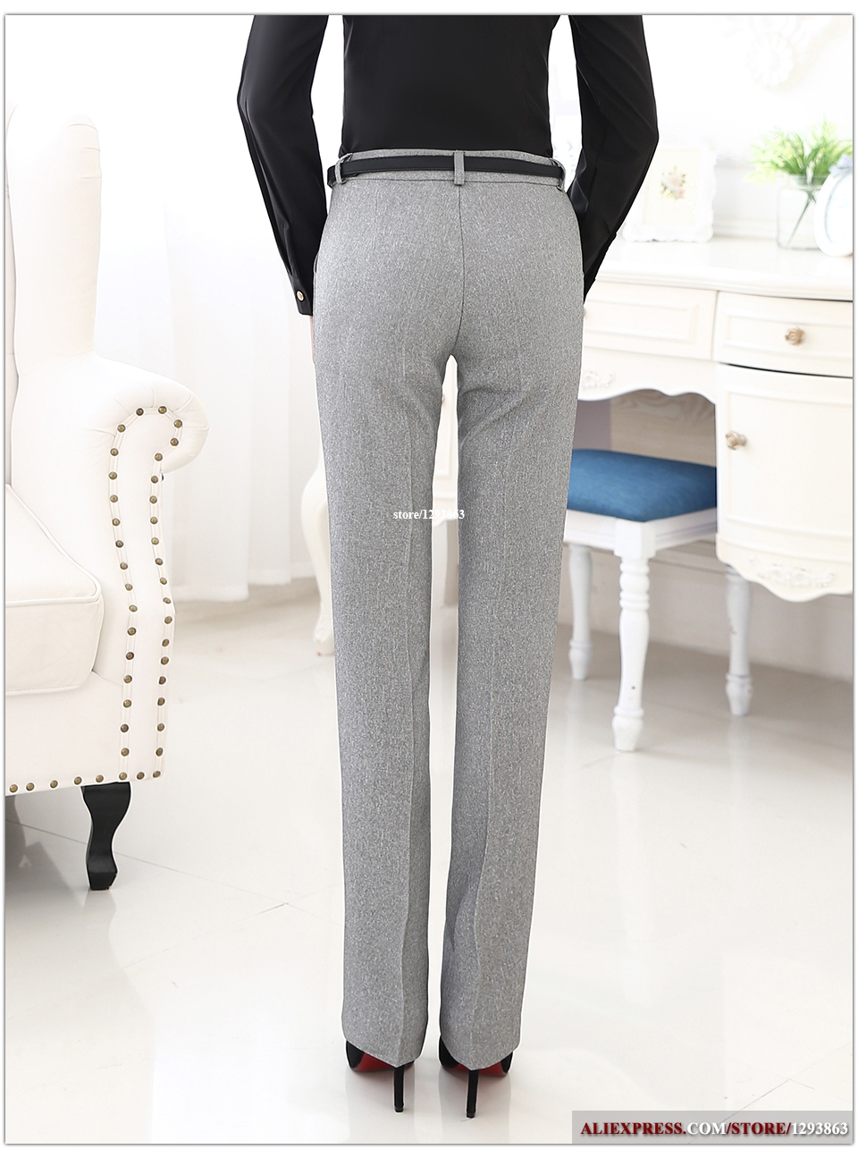 Lenshin Plus Size Formal Adjustable Pants for Women Office Lady Style Work Wear Straight Belt Loop Trousers Business Design