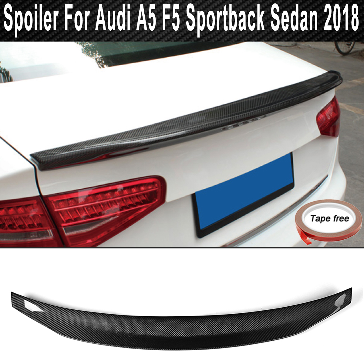 Real Carbon Fiber Rear Trunk Spoiler Tail Trunk Wing Boot Lip Wing for Audi A5 F5 Sportback Sedan 4-Door 2018 Car Accessories