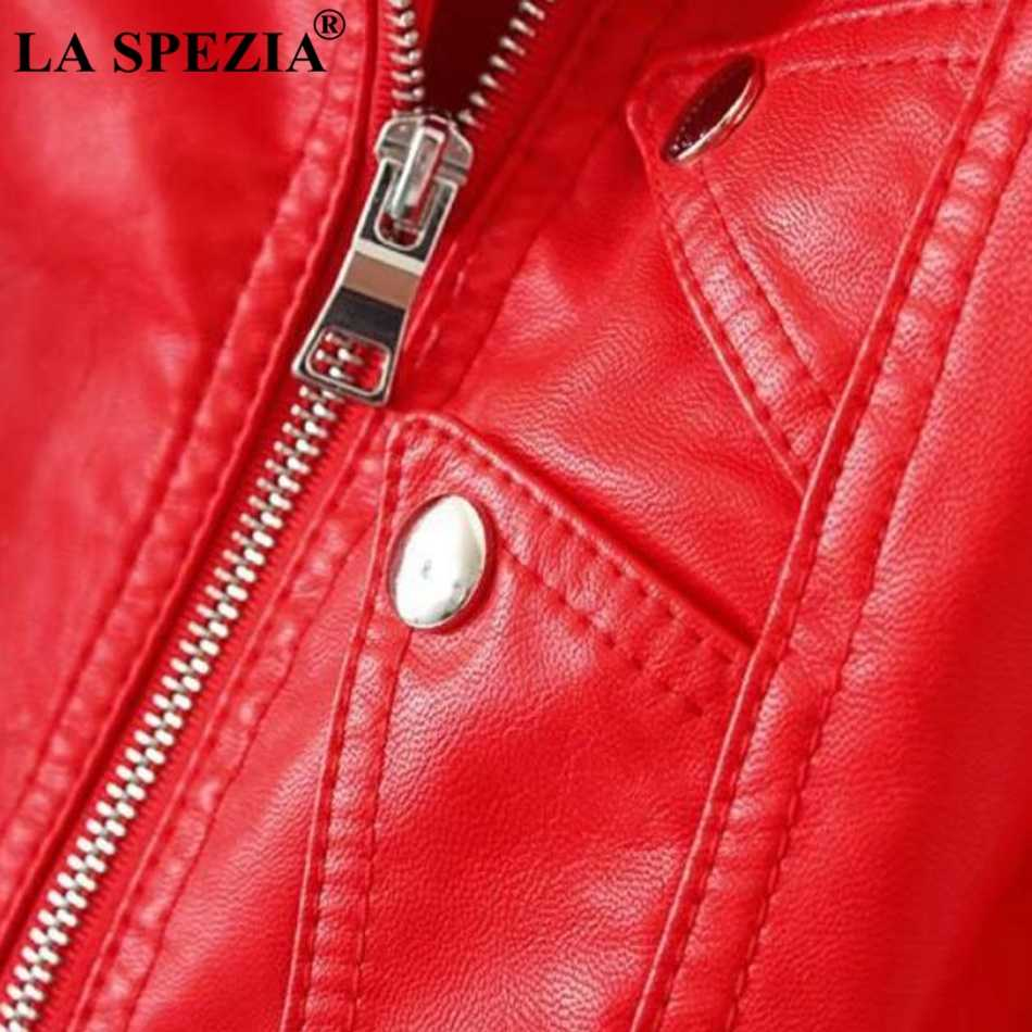 80554fc03f6 LA SPEZIA Biker Jacket Women Red Artificial Leather Jackets Ladies Belt  Rivet Slim Fit Motorcycle Solid Punk Autumn Zipper Coats