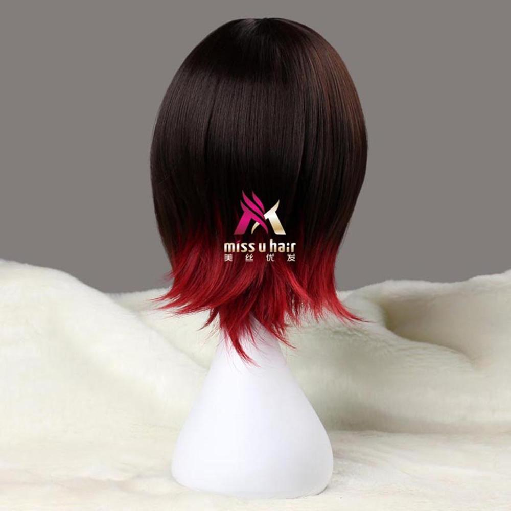 Image 3 - Miss U Hair Synthetic Short Straight Black Brown and Red Purple Black White Blond Halloween role play Cosplay Costume Wigshair synthetichair hairwig wig -