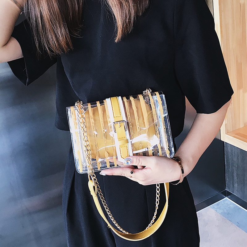 2019 Striped Clear Transparent PVC Women Messenger Crossbody Bag Candy Color Channels Jelly Summer Beach Bag 2 Pieces Women Hand