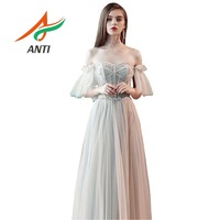 ANTI High Quality Evening Dresses Beading Backless Tulle Robe De Soiree Floor Long Women Formal Dress With Sash Custo Made LM039