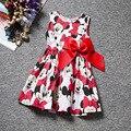 Venta caliente s estilo boutique de ropa de verano 2016 punto rojo de dibujos animados impreso vestido de la muchacha infantil