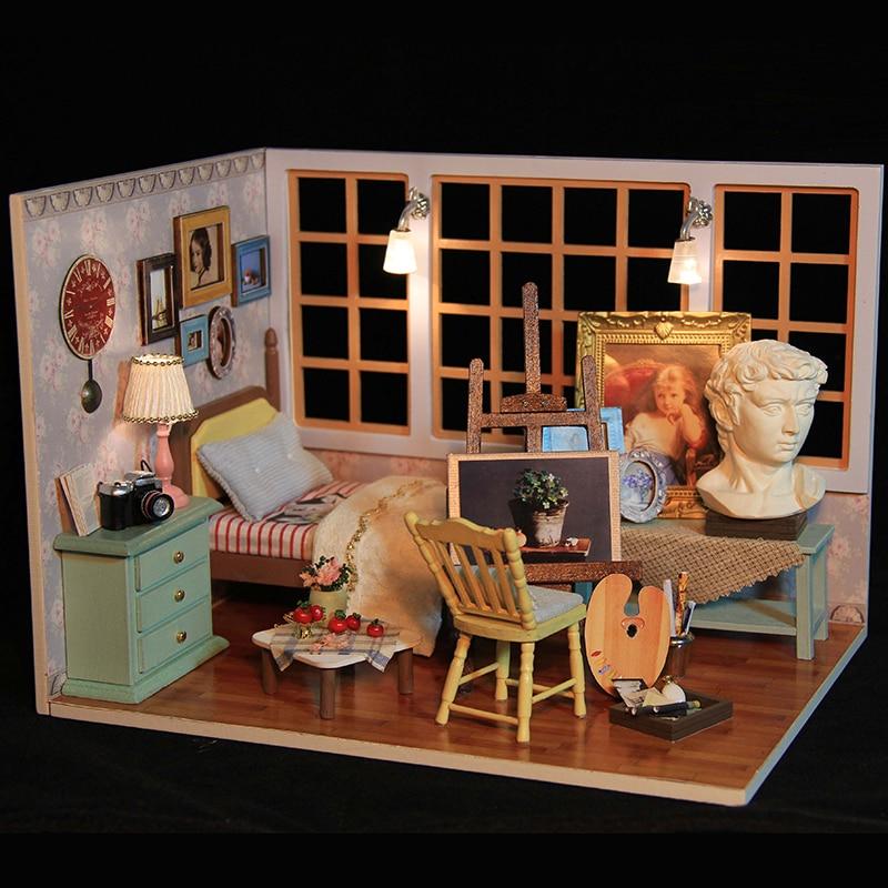 Cutebee поделки Кукольный дом деревянный Кукольные домики миниатюрный кукольный домик Мебель комплект Игрушечные лошадки для детей Рождество...