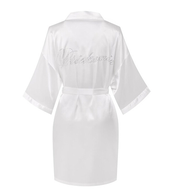 Мода Шелковый Невесты Невесты Халат Сексуальные Женщины Короткие Атласные Свадебные Кимоно Халаты Пижамы Ночная Рубашка Платье Женщины Халат Пижамы