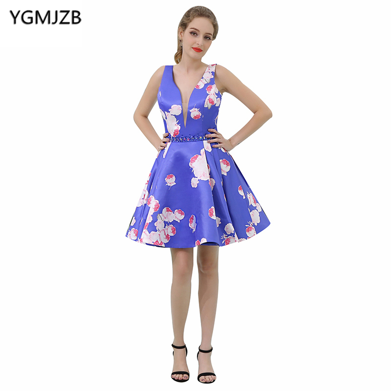 Short   Cocktail     Dresses   2018 A Line Deep V Neck Cap Sleeve Beaded Crystal Floral Print Prom   Dresses   Real Photo Mini Party   Dresses