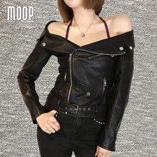 American model black PU leather-based jackets coats horny slash neck rivet decor leather-based bike jacket veste en cuir femme LT757