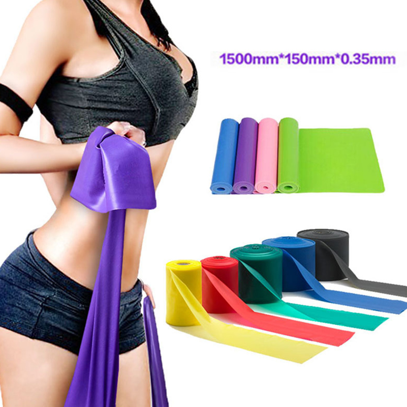 New Home Fitness Resistance Bands 1500mm*150mm*0.35mm Strength Training Strong Latex Ela ...