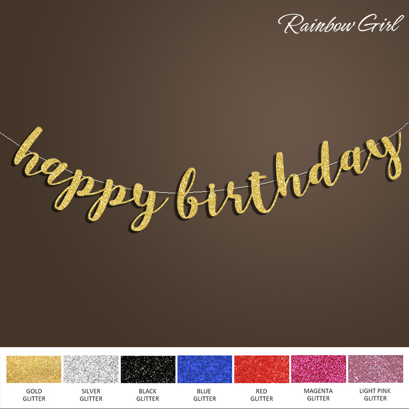 Happy Birthday Banner, Sort / Sølv / Guld Glitter Script Sign, 30th / 40th / 50th / 60th / 70th / 80th Birthday Party Decorations Supplies